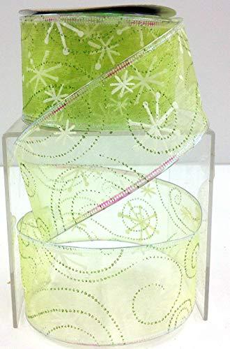 Christmas Wired Edge Citrus Green Snowflake Sheer Ribbon. 2 1/2'' W x 10 yd RE-385
