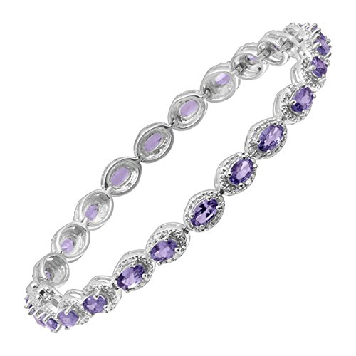 6 1/2 ct Natural Tanzanite Tennis Bracelet with Diamonds in Sterling Silver by Finecraft