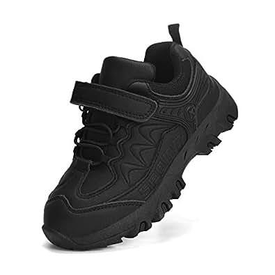 Simasoo Boys Running Hiking Shoes Unisex Waterproof Tennis Non Slip Sneakers Black 4 M US Big Kid