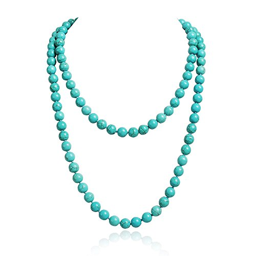 JANE STONE Fashion Faux Turquoise Necklace Acrylic 5-Row Multi-Layered Collar Women (3)