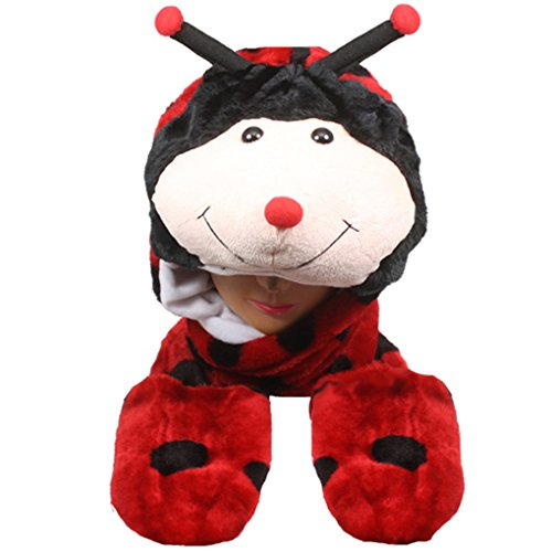 Choose From Over 25 Animals! - Plush Faux Fur Animal Critter Hat Cap - Soft Warm Winter Headwear - Short with Ear Poms and Flaps & Long with Scarf and Mittens Available (Long Ladybug)