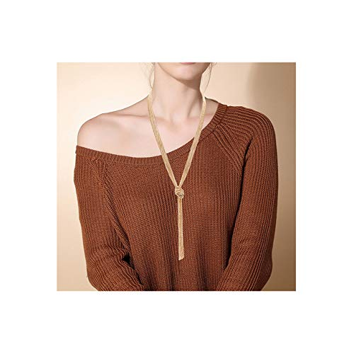 (VUJANTIRY Long Necklace for Women Pendant Necklace Y Shape Knot Sweater Necklace Strands for Girls Fashion Jewelry (Gold))