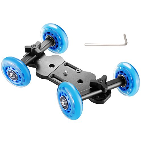 Neewer Noise-Free Table Dolly Car Rolling Slider Skater - Aluminum Alloy Board and Rotatable Fluid Silicone Wheels,22 Pounds/10 Kilograms Load Capacity for DSLRs Video Camcorders (Black/Blue) by Neewer