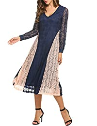 ACEVOG Women's Retro Floral Lace Sleeveless Patchwork Slim Long Evening Maxi Dress