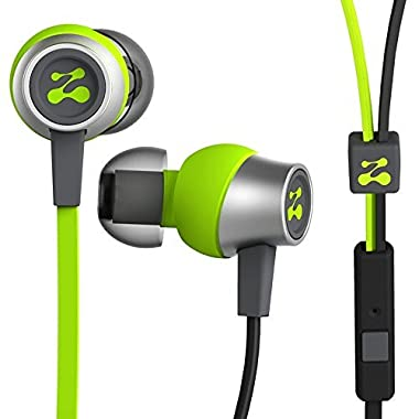 Zipbuds SLIDE Sport Earbuds with Mic (Most Durable, Tangle-Free, Workout In-Ear Headphones) - GUARANTEED FOR LIFE - (Neon Yellow & Black)
