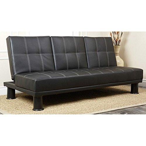 Abbyson® Hamilton Convertible Sofa - Black Vinyl Futon Sofa