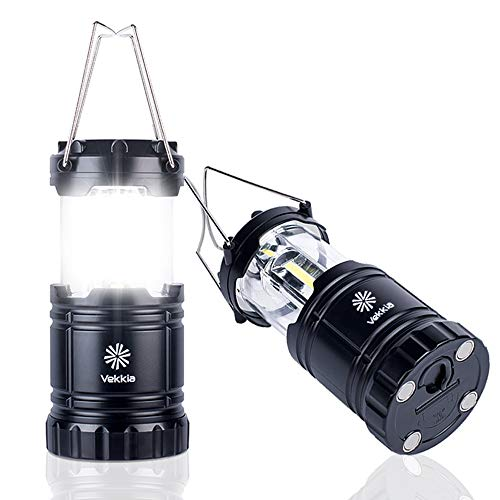 Vekkia COB LED Camping Lanterns,Battery Powered Lamp with Magnetic Base,Collapsible LED Lantern-Outdoor Camping Lights. Perfect for Fishing,Hiking,Power Outage,Hurricane Season,etc,Pack of 2