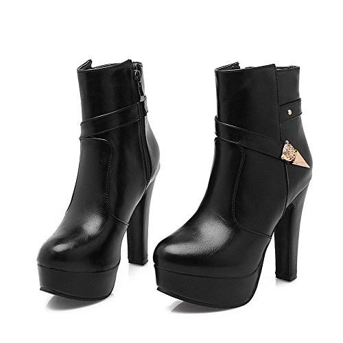 Round Top Black Boots Zipper PU High Closed Toe Women's Heels Low Allhqfashion EZxqPSv
