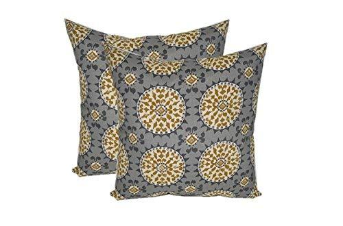 Set of 2 - Indoor/Outdoor Square Decorative Throw/Toss Pillows - Johara Slate - Grey, Gold, Ivory Sundial (17