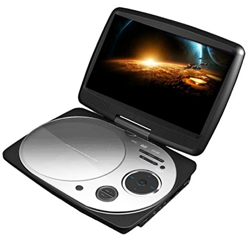 Impecca DVP916W 9 Inch Swivel Screen, Portable DVD Player with Rechargeable Battery, SD Card Slot and USB Port, White