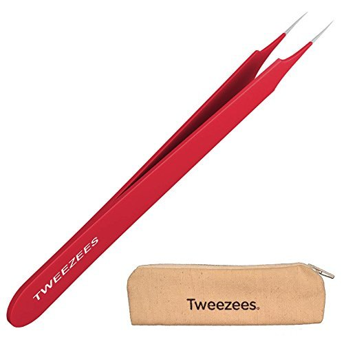 Professional Pointed Ingrown Hair Splinter Tip Tweezers - Tweezees Precision Red Coated Stainless Steel Tweezers - Extra Sharp and Perfectly Aligned for Ingrown Hair Treatment & Splinter Removal (Red)