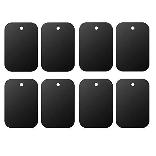 Mount Metal Plate(8Pack) for Magnetic Car Mount Phone Holder with Full Adhesive for Phone Magnet, Magnetic Mount, Car Mount Magnet-8X Rectangular (Black)