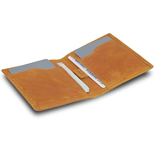 Minimalist Thin Western Wallets For Men Slim Small Front Pocket Leather Rfid Wallet Brown