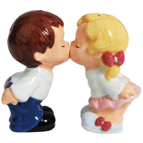 Westland Giftware Magnetic Ceramic Salt and Pepper Shaker Set, 3.5-Inch, Mwah First Kiss, Set of 2