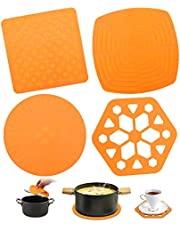 Silicon Trivet Pad 4pcs Kitchen Trivet Mats Non Slip Heat Resistant Mat Flexible Silicone Hot Pot Holder Hot Pad Orange