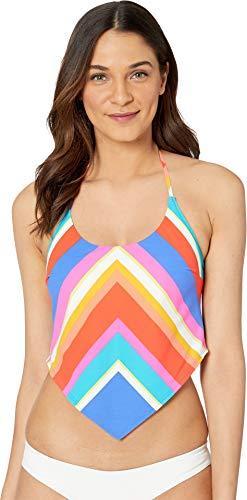 Trina Turk Women's Halter Handkerchief Tankini Swimsuit Top, Orange//Sunset Chevron, 14