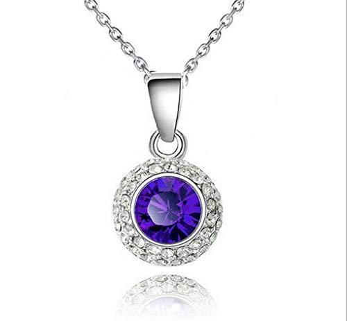 Fashion Women Purple Crystal Rhinestone Round Silver Chain Pendant Necklace пјЃпјЃпјЃ (Simon Crystal Clock)