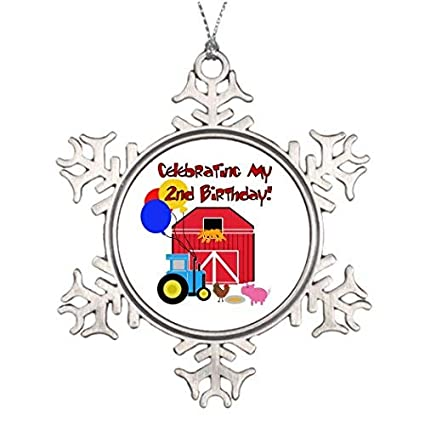OneMtoss Christmas Snowflake Ornament Xmas Trees Decorated Farm Theme Birthday 2nd S And Gifts