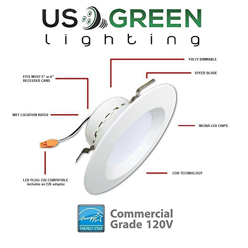 16 Pack 11.5W LED 3000K (Warm White) 5''/6'' Recessed Can Retrofit Downlight, Dimmable, 650 Lumen, Energy Star, 90 CRI, 75W replacement, Low Profile by US Green Lighting (Image #1)