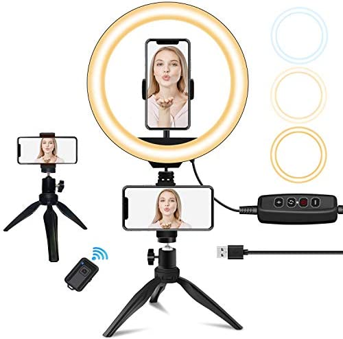 "10"" LED Ring Light with Stand and Phone Holder, Sumcoo Dimmable Desk Selfie Ring Light for Makeup, Live Stream & YouTube Video, 3 Light Modes & 10 Brightness Level for iPhone/Android"