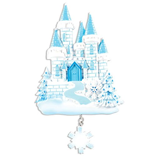 Personalized Ice Castle Christmas Tree Ornament 2019 - Beautiful Frozen Blue White Princess House Glitter Snowflake Fairy-Tale Cinderella Baby Girl Treasure Kids Toy Gift Year - Free Customization ()