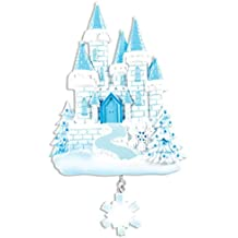 Personalized Ice Castle Christmas Ornament - Beautiful Frozen Blue White Princess House with Glitter Snowflake - Fairy-tale Cinderella Baby Girl Treasure Disney Kids Toy - Free Customization