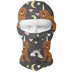 UTKYH Ruby Cavoodle Rainbow Dog Unicorn Outdoor Ski Face Mask Motorcycle Bike Breathable Full Face Mask Men and Women Balaclava Hood Hat