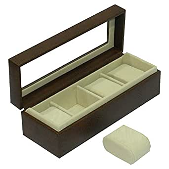 Laveri Leather Watch Box, 4 Compartments with Glass Top