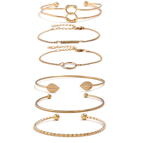 I'S ISAACSONG Yellow Gold Plated Inspirational Love Knot Stackable Open Cuff Bangle Bracelet Set for Women and Girls (Circle, Bar, Love Knot 6 Pcs Set)