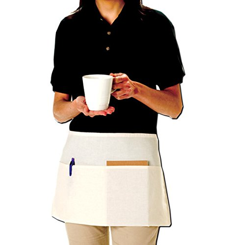Totebacfactory Woman's 6 Pack- Promotional Priced Two Pouch Waist Apron One Size Natural (Apron Promotional)