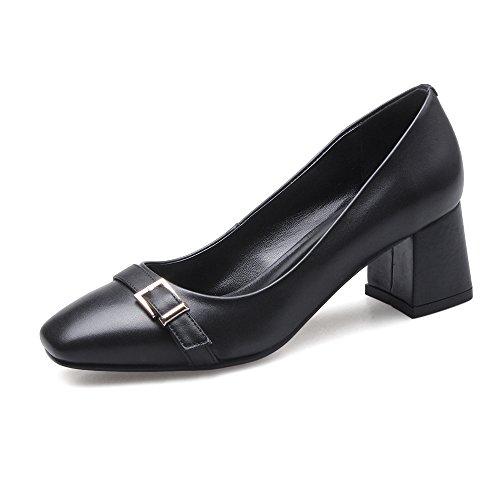Mujer Puntera Grueso negro Nine Zapatos Cuadrada Moda Tacón para con de Seven Cuero Hebilla t8wnq647xH