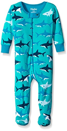 Hatley Baby Boys' White Sharks Footed Coverall, Turquoise, 12-18 Months