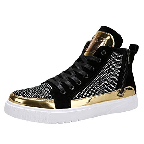 Goddessvan 2019 Men's Colorful Mirror Trend Sneakers Nightclubs Sequins High-Top Casual Shoes Silver
