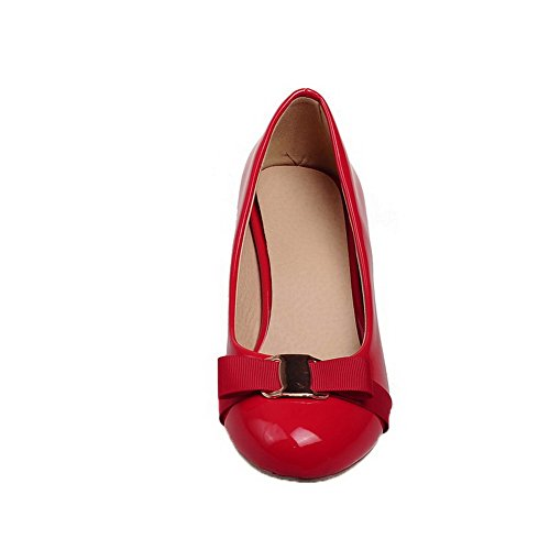 Odomolor Women's Patent Leather Round-Toe Low-Heels Pull-On Solid Pumps-Shoes, Red, 39
