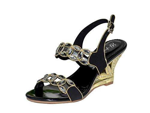 Unicrystal - Sandalias de vestir de Material Sintético para mujer Negro - negro