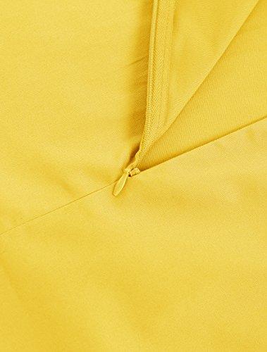 Audrey Rockabilly Vintage Robe Rtro Jaune Style 50 Annes Mancheron Wedtrend 's Hepburn qSYCU6w