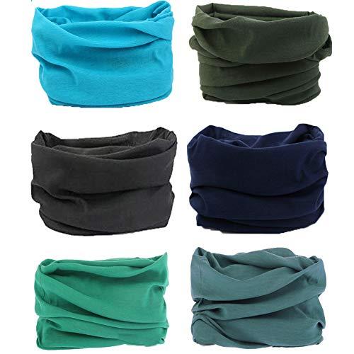 6PCS/15PCS 16-in-1 Multifunctional Headwear Yoga Sports Stretchable Casual Headband Seamless Uv Solid Moisture Neckwarmer Headwrap Mask Bandana Scarf (6pcs-Blue Sky)