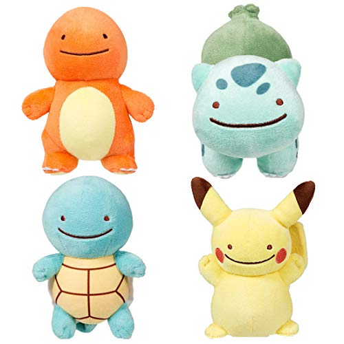 Ditto 4pc. Pokemon Plush Bundle 14cm 5.5 Inches- Ditto Pikachu, Ditto Charmander, Ditto Squirtle, Ditto Bulbasaur