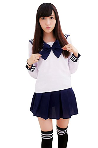 [Ninimour- Japan School Uniform Dress Cosplay Costume Anime Girl Lady Lolita (XL, Long-deep blue)] (Anime Girl Costumes)