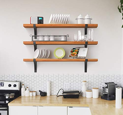 "Premium Home Shelf Brackets: 10"",12"" Floating Shelf L Bracket, L Brackets for Shelves, Shelving Bracket, Heavy Duty Shelf Bracket Black Metal Industrial Wall Decorative Rustic Farmhouse (10"")"