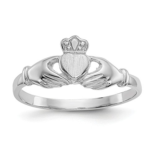 Size - 7 - Solid 14k White Gold Polished & Satin Claddagh Ring (4 to 16 ()