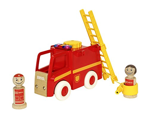 Play Town Fire Truck - Brio World - 30383 My Home Town Light & Sound Firetruck | 5 Piece Firetruck Toy with Accessories for Kids Ages 18 Months and Up