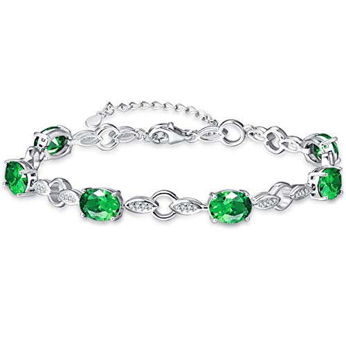 BONLAVIE Oval Cut Created Emerald Round Cut CZ 925 Sterling Silver Willow Link Chain Bracelet for Women
