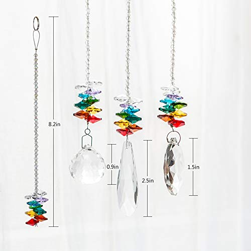WEISIPU 3PCS Crystals Ball Prisms Suncatcher Hanging Ornament Crystals Hanging Ornament Chakra Crystals for Home, Office, Garden Decoration, Car Pendants, Birthday Presents