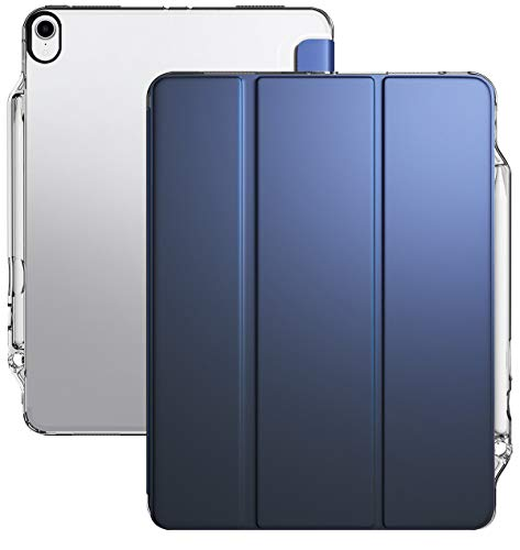 iPad Pro 12.9 Case 2018 3rd Gen, Poetic Smart Cover w/Flexible Soft Clear TPU Back, Slim-Fit Trifold Stand Folio, Lumos X, Apple Pencil Charging Works, Magnetic Closure, Auto Sleep/Wake, Navy Blue