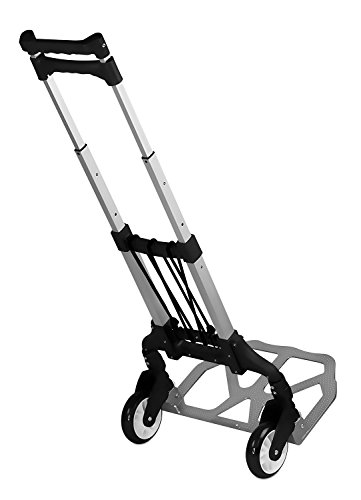 Mount-It! Folding Hand Truck and Dolly, 165 Lb Capacity Heavy-Duty Luggage Trolley Cart With Telescoping Handle and Rubber Wheels (Duty Roller)