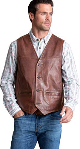 Overland Sheepskin Co Kyle Distressed Lambskin Leather Vest Tan