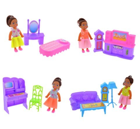 African American (3) Fashion Mini Dolls Set with Doll House Furniture Kitchen, Dinning Room, Patio, Bedroom MAY VARY (Wholesale Furniture Sets)