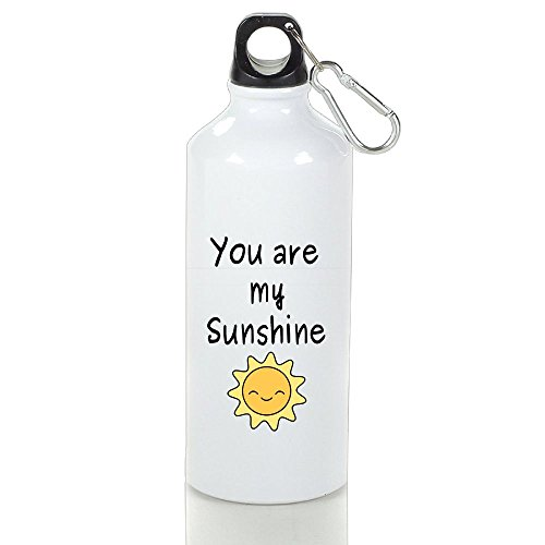 Drosp You Are My Sunshine White Aluminum Sports Water Bottle, Great For Outdoor And Sport Activities Sealed Plastic Leak-proof Screw Top 400ml White