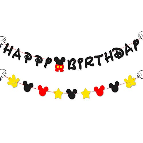 BeYumi Mickey Birthday Banner and Garland, Red Black and Yellow Party Decoration for Kids Birthday]()